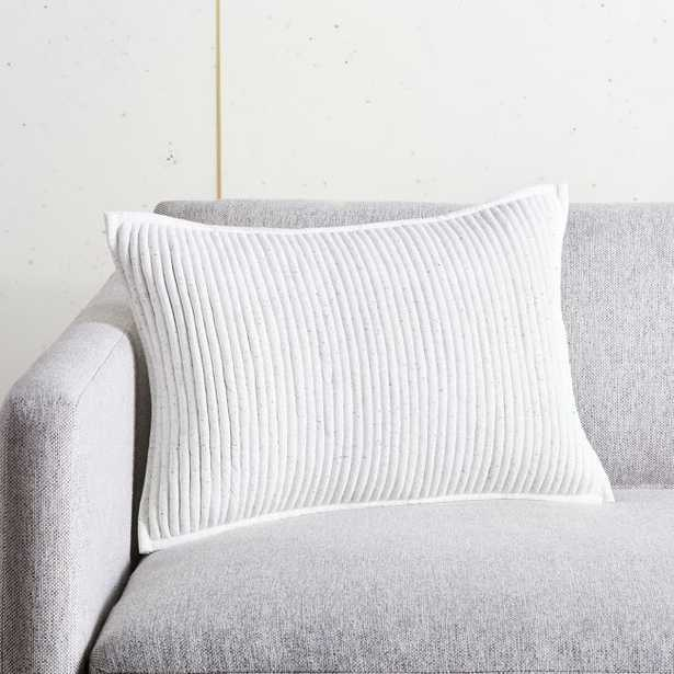 """18""""x12"""" Sequence Jersey Ivory Pillow with Feather-Down Insert - CB2"""