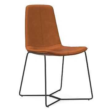 Slope Dining Chair, Vegan Leather, Saddle, Antique Bronze - West Elm