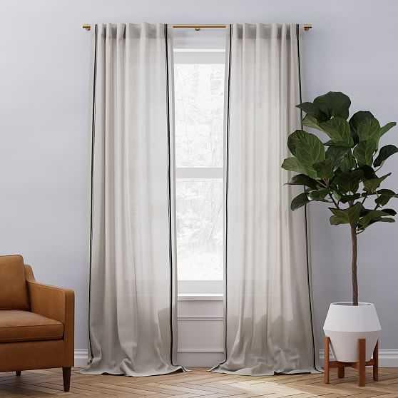 "European Flax Linen Embroidered Stripe Curtain, Belgian Flax + Midnight, 48""x84"" - West Elm"