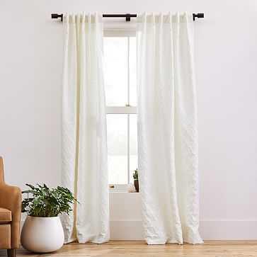 "Honeycomb Jacquard Curtain, Pearl, 48""x96"" - West Elm"