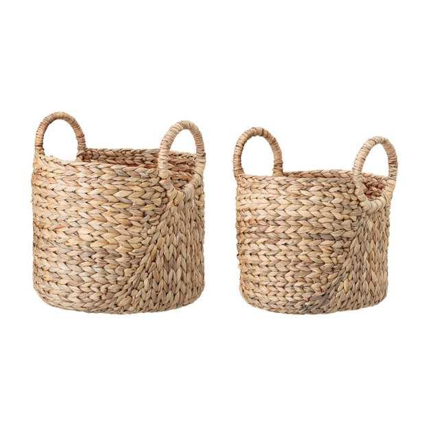 Handwoven Beige Seagrass Baskets with Round Handles (Set of 2 Sizes) - Moss & Wilder