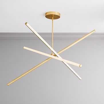 Light Rods LED Chandelier, Large, Antique Brass Canopy - West Elm