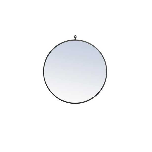 """Elegant Furniture Timeless Home 28""""H X 28""""W Modern Round Metal Framed Wall Mirror with Decorative Hook in Black - Home Depot"""