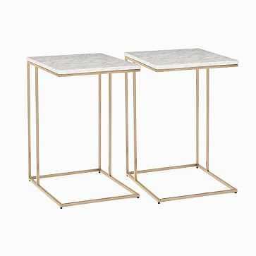 Streamline C-Side Table, Marble, Light Bronze, Set of 2 - West Elm