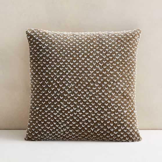 """Raised Velvet Pillow Cover, 18""""x18"""", Taupe - West Elm"""