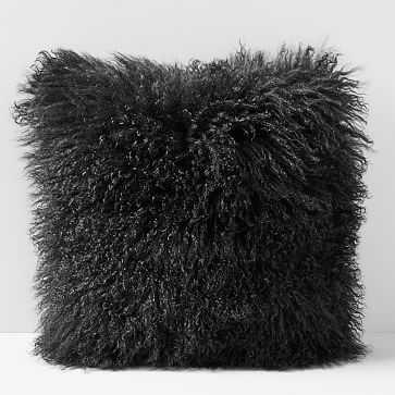 """Mongolian Lamb Pillow Cover, 24""""x24"""", Black - West Elm"""