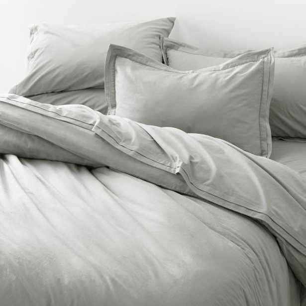 Mellow Sterling Organic Cotton King Duvet Cover - Crate and Barrel