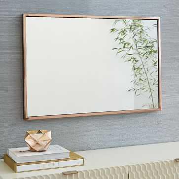 Metal Framed Wall Mirror, Rose Gold, UPS - West Elm