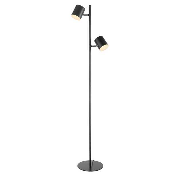 55 H Globe Electric Banner Matte Black 2-Light Energy Star LED Integrated 3-Way Dimmer Floor Lamp - Home Depot