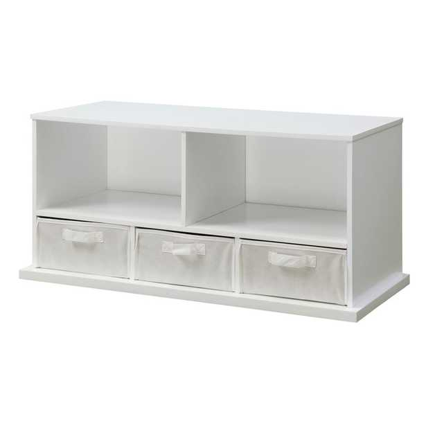 Badger Basket 37 in. W x 17 in. H x 16 in. D White Stackable Shelf Storage Cubbies with 3-Baskets - Home Depot