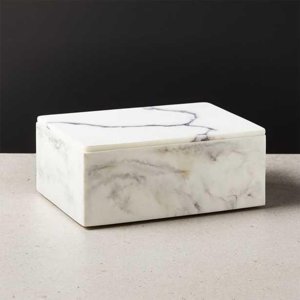 Vaughan Marbleized Ivory Resin Box Large - CB2