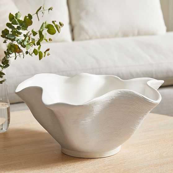 Solana Centerpiece Bowl, White - West Elm