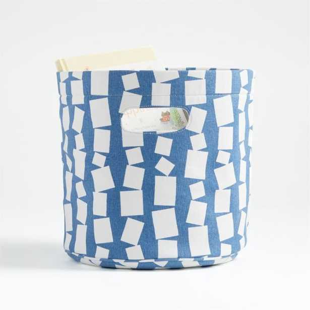 Blue and White Round Storage Bin - Crate and Barrel