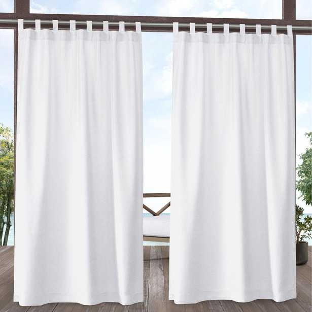 Amalgamated Textiles Biscayne Light Filtering 54 in. W x 96 in. L Tab Top Curtain Panel in White (2 Panels) - Home Depot