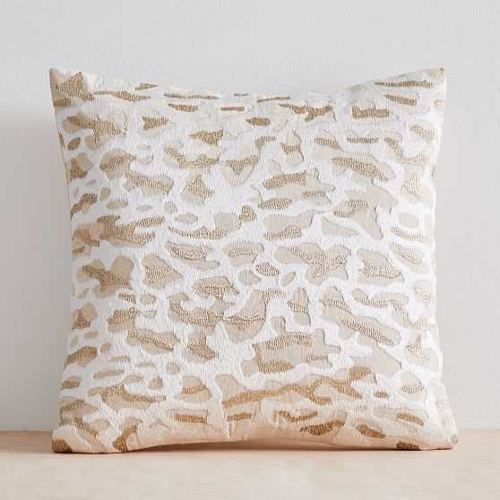 """Embroidered Animal Print Pillow Cover, 20""""x20"""", Metallic Gold - West Elm"""