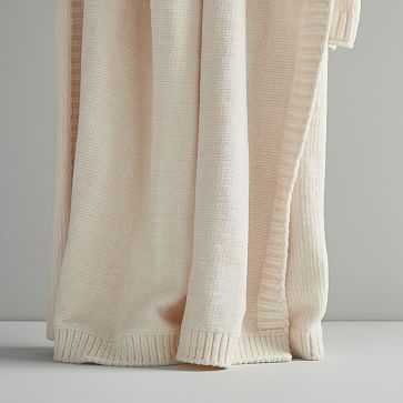 Luxe Chenille Throw, Ivory - West Elm