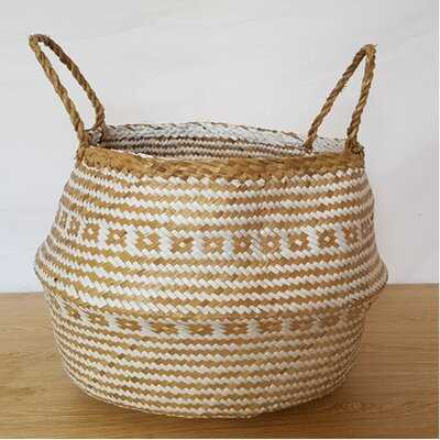 """13"""" Natural and White Seagrass Belly Basket with Handles - Wayfair"""