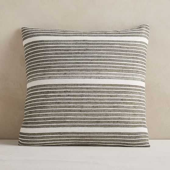 "Silk Mini Stripe Pillow Cover, 20""x20"", Dark Olive - West Elm"