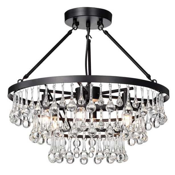 Warehouse of Tiffany Kerstin 20 in. 6-Light Indoor Black Semi-Flush Chandelier - Home Depot