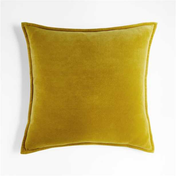 """Ochre 20"""" Washed Cotton Velvet Pillow Cover with Down-Alternative Insert - Crate and Barrel"""