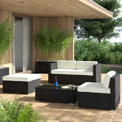Hazen 5 Piece Rattan Sectional Seating Group with Cushions - AllModern