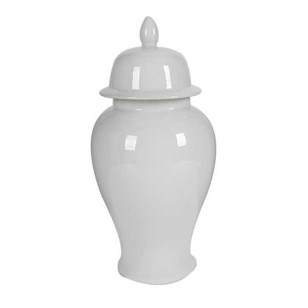 Benjara Decorative Porcelain Ginger Jar with Lidded Top Large, White - Home Depot