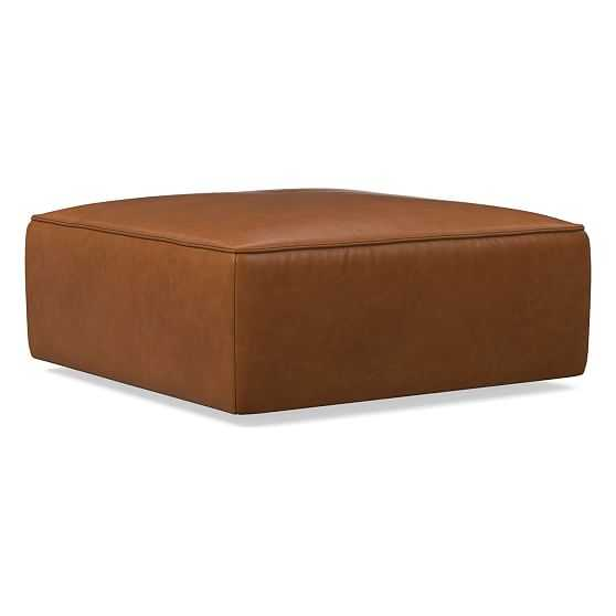 Remi Ottoman, Memory Foam, Ludlow Leather, Mace, Concealed Support - West Elm