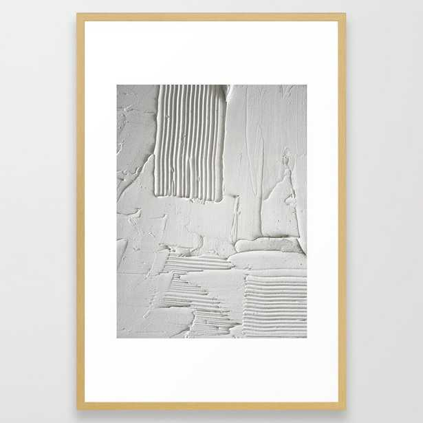 Relief [3]: An Abstract, Textured Piece In White By Alyssa Hamilton Art Framed Art Print by Alyssa Hamilton Art - Conservation Natural - LARGE (Gallery)-26x38 - Society6