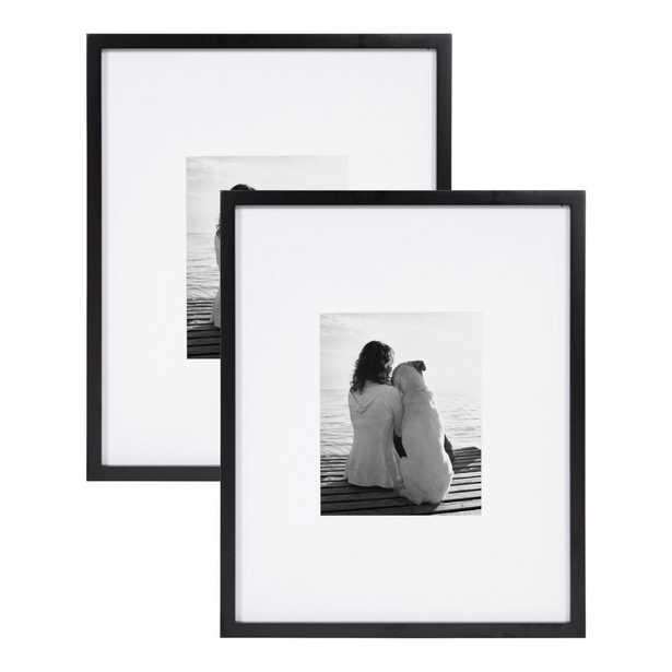 DesignOvation Gallery 16x20 matted to 8x10 Black Picture Frame Set of 2 - Home Depot