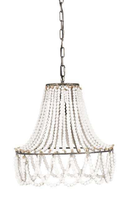 White Wood Beaded Pendant Light with Metal Frame - Nomad Home