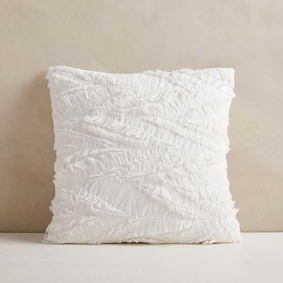 "Cotton Eyelash Pillow Cover, 20""x20"", White, Set of 2 - West Elm"