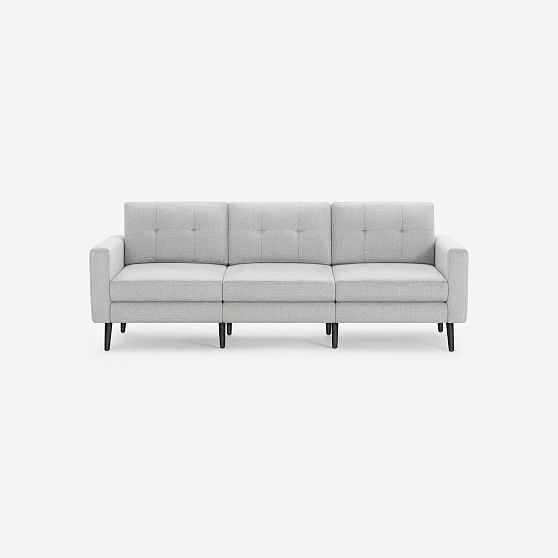 Nomad Block Fabric Sofa, Olefin, Crushed Gravel, Ebony Wood - West Elm