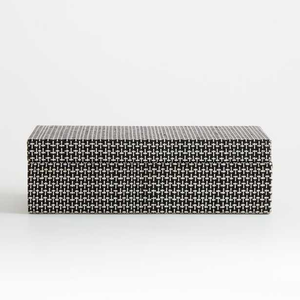 Jolie Large Black and White Woven Box - Crate and Barrel