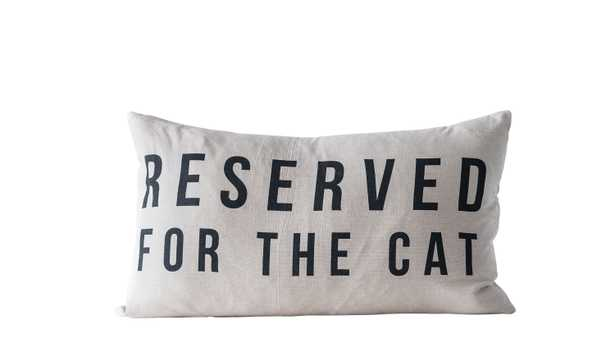 """""""Reserved for the Cat"""" Cotton Pillow - Nomad Home"""