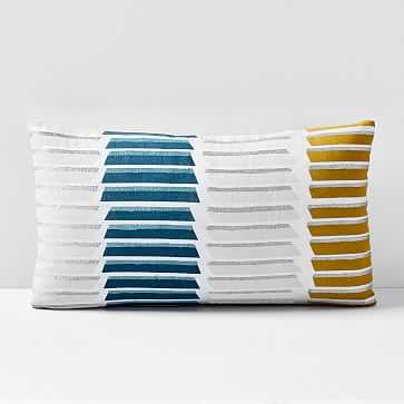 """Stacked Lines Pillow Cover, 12""""x21"""", Royal Green - West Elm"""