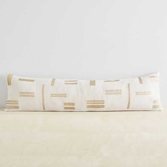 """Embroidered Metallic Blocks Pillow Cover, 12""""x46"""", Belgian Flax - West Elm"""
