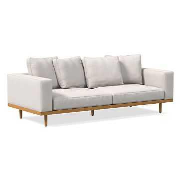 "Newport 94"" Sofa Toss Back Cushion, Down, Performance Coastal Linen, White, Almond - West Elm"