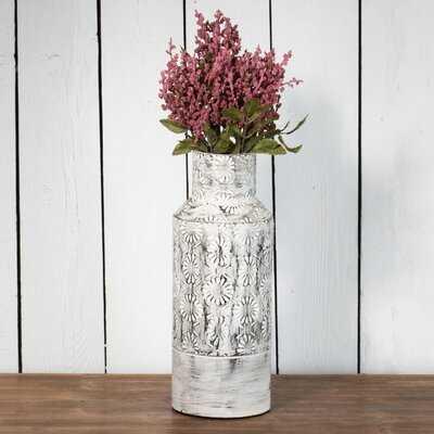 Rudgeway White/Black Metal Table Vase - Wayfair