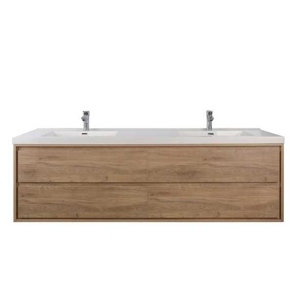 "Moreno Bath Sage 72"" W Vanity in White Oak with Reinforced Acrylic Vanity Top in White with White Basins - Home Depot"