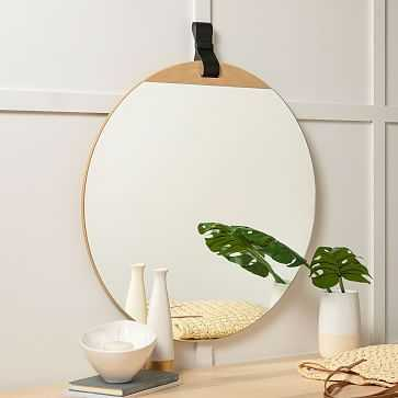 """Leather Strap Hanging Mirror, 33""""x30"""" - West Elm"""