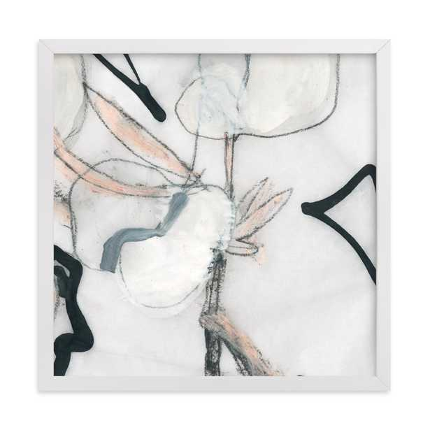 Southern Cotton Double Bloom Square Art Print > Classic white wood frame, standard border - Minted