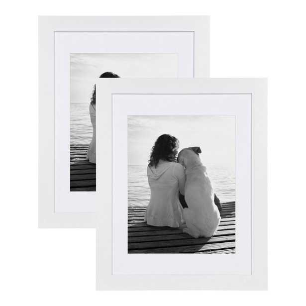 DesignOvation Museum 14x18 matted to 11x14 White Picture Frame Set of 2 - Home Depot
