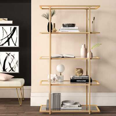 """Audrey 72"""" H x 40"""" W Stainless Steel Etagere Bookcase - Wayfair"""