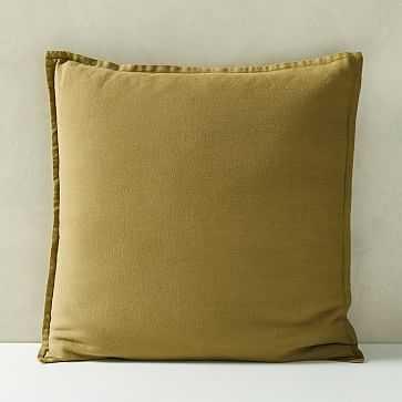 "Belgian Flax Linen Pillow Cover, Camo Olive, 20""x20"" - West Elm"