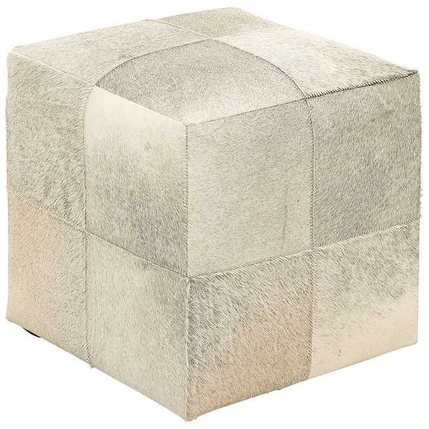 Astoria Weathered Ivory Leather Hide Pouf Ottoman - Style # 83R79 - Lamps Plus