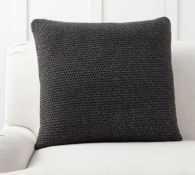 """Thermal Knit Sherpa Back Pillow Cover, 24"""", Heathered Charcoal - Pottery Barn"""