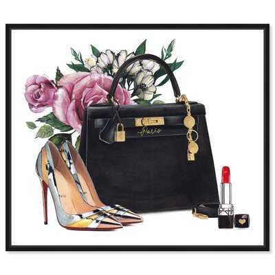'Fashion and Glam Black Handbag and High Heels' - Painting Print on Canvas - Wayfair