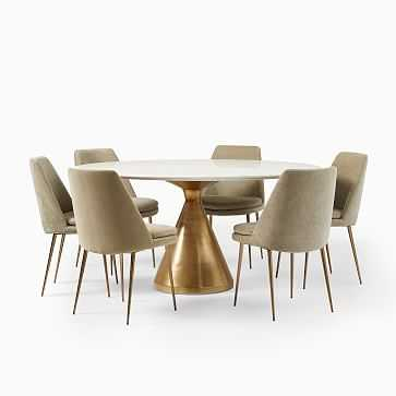 """Silhouette Pedestal Round Dining Table (60"""") + 6 Finley Chair Set (Light Taupe) - West Elm"""