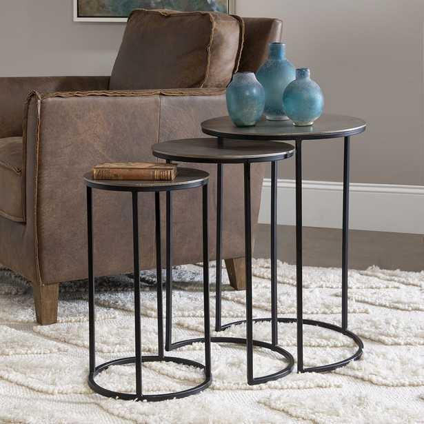 "Uttermost Erik 17"" Wide Aged Black Nesting Tables Set of 3 - Style # 78D35 - Lamps Plus"