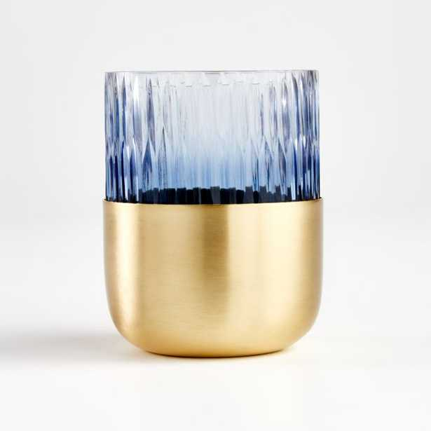 Virtuoso Blue Tealight Holder with Gold Metal - Crate and Barrel